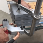 photo of custom spot welding solution for fabricating spot welding twice at once on steel doors